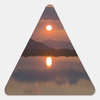 Alpine Lake Sunset Triangle Sticker