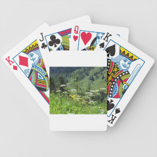 Alpine landscape with wildflowers and firs bicycle playing cards