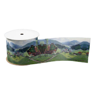 Alpine Meadows Stream Wildflowers Chalets Ribbon Satin Ribbon