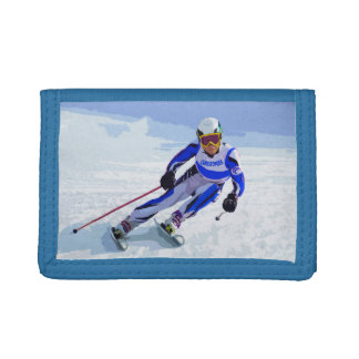 Alpine Skier In Blue With Your Name Drawing Tri-fold Wallet