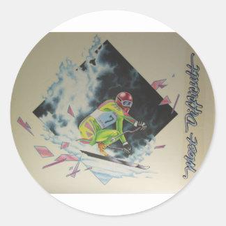 Alpine Skier Round Sticker