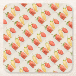 Alpine Strawberry Trio Square Paper Coaster