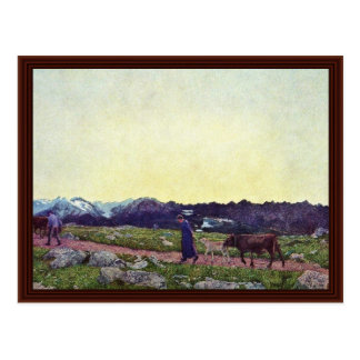 Alpine Triptych: Being By Segantini Giovanni Postcard