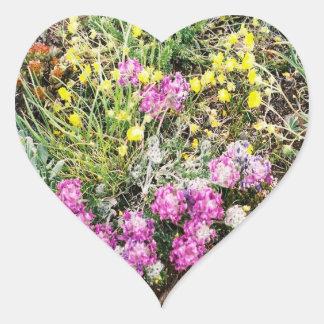 Alpine Wildflowers Flora Heart Sticker