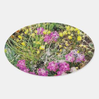 Alpine Wildflowers Oval Sticker