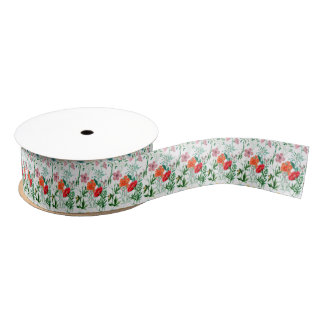 Alpine Wildflowers Print Grosgrain Ribbon
