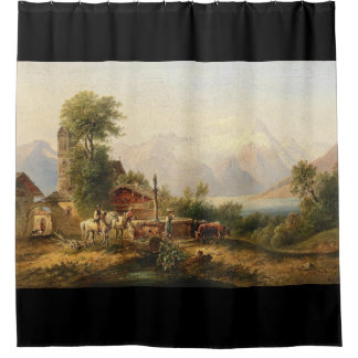 Alps Animals Well Lake Mountains Shower Curtain