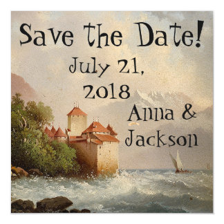 Alps Castle Lake Save Date Magnetic Card Magnetic Invitations