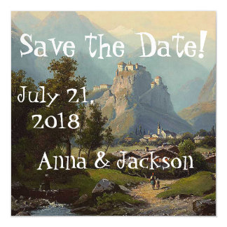 Alps Castle Stream Save Date Magnetic Card Magnetic Invitations