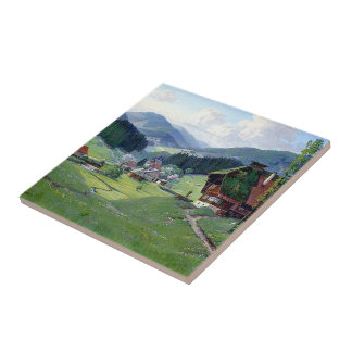 Alps Meadow Wildflower Flowers Paths Cabins Tile