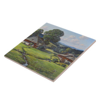 Alps Meadow Wildflower Flowers Stream Tile