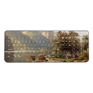 Alps Mountains Lake Cabin Boat Wireless Keyboard