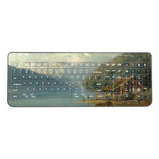 Alps Mountains Lake Cabin Sailboats Keyboard