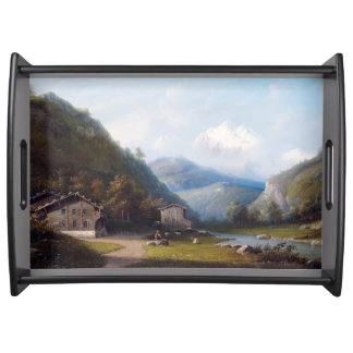 Alps River Cabins Town Mountains Serving Tray