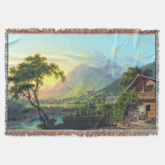 Alps Swiss Farmhouse River Mountain Throw Blanket