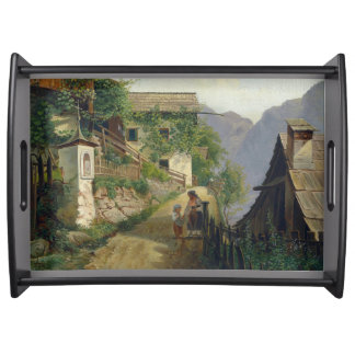 Alps Vine Houses Town Mountains Serving Tray