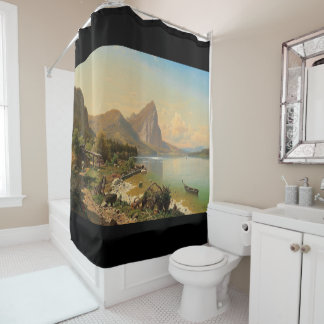 Alps Wilderness Lake Boat Mountains Shower Curtain