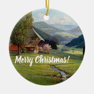 Alps Wildflower Meadow Stream Christmas Ornament