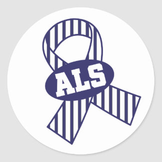 ALS Awareness Support Striped Ribbon Stickers