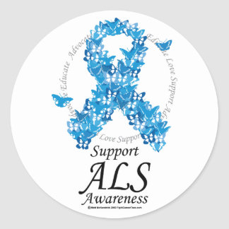 ALS Butterfly Ribbon Classic Round Sticker