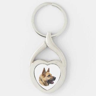 Alsatian German shepherd portrait Silver-Colored Twisted Heart Key Ring