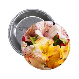 Alstroemeria Flowers Button Badge
