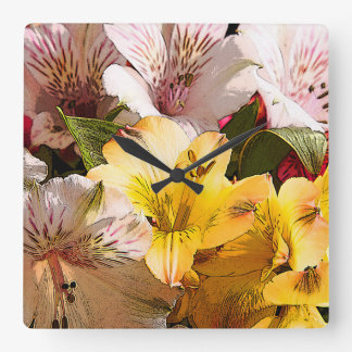 Alstroemeria Flowers Wall Clock