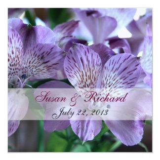 """Alstroemeria Lily Wedding Invitation 5.25"""" Square Invitation Card"""