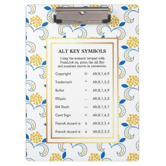 Alt Key Symbols for Writers Clipboard