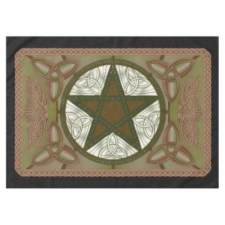 Altar Cloth w/ Green Pentagram & Triquatras Tablecloth
