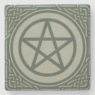 Altar Pentacle - Moss Stone Beverage Coaster