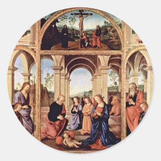 Altarpolyptychon Main Board: The Birth Of Christ M Classic Round Sticker