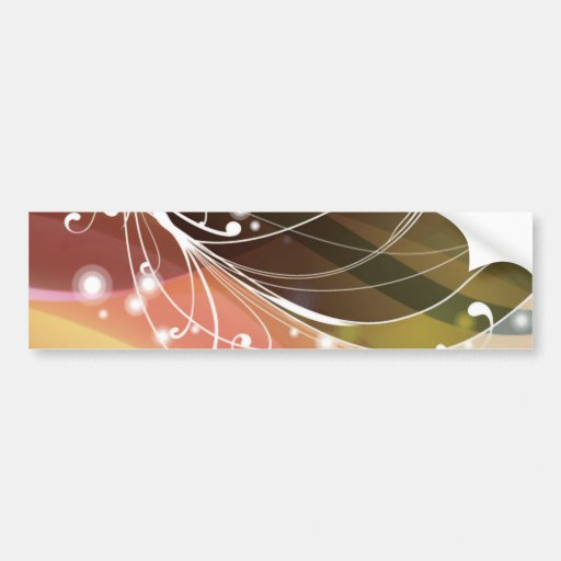 ALTCBWB CORAL BROWNS RETRO FLOWERS ABSTRACT RANDOM BUMPER STICKER
