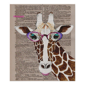 Altered Art Funky Giraffe Poster