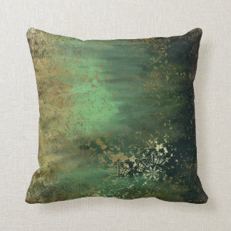 Altered Art Teal Green Throw Pillow Cushions
