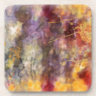 Altered Floral Art - Warm Tones Drink Coasters