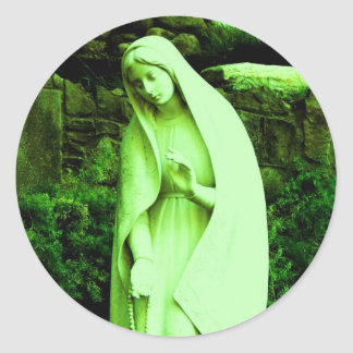 Altered Green Virgin Mary Classic Round Sticker