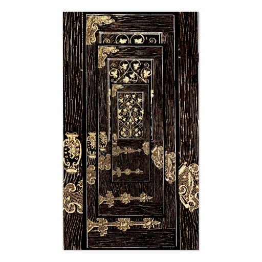 Altered Light Antique Ornate Golden Whimsical Door Business Card Templates