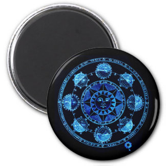 Altered Light Blue Zodiac Sun Eclipses Magnets
