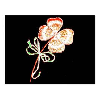 Altered Light Golden Irish Sparkle 4 Leaf Clover Postcard