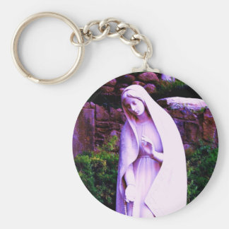Altered Purple Virgin Mary Basic Round Button Key Ring