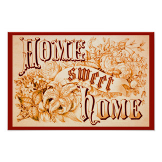 Altered Vintage Image Poster: Home Sweet Home Poster