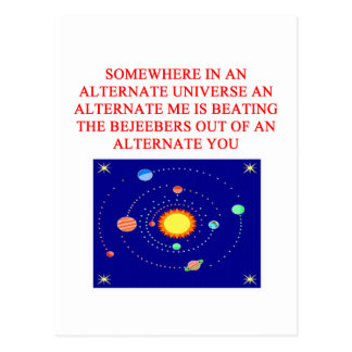 alternate universe phsics joke postcard