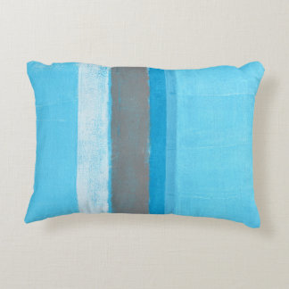 'Alternating' Blue Abstract Art Decorative Cushion