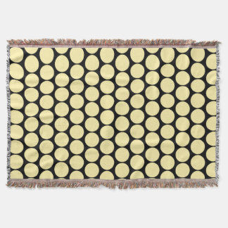 Alternating Round Motif accent Yellow Throw Blanket