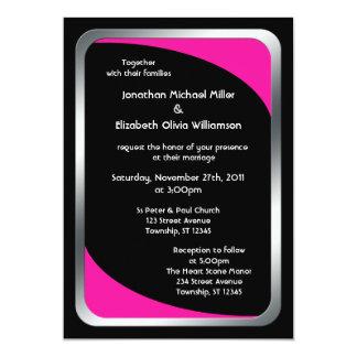 Alternative Black with Hot Pink Wedding 13 Cm X 18 Cm Invitation Card