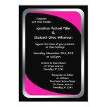 Alternative Black with Hot Pink Wedding Custom Announcements