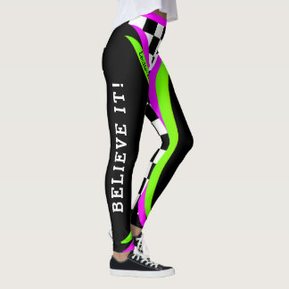 Alternative Concept Checkered Flourescent Believe Leggings