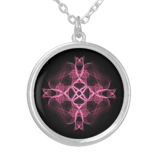 Alternative Goth Pink Celtic Cross Silver Plated Necklace