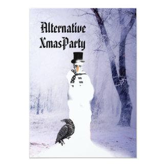 Alternative  Gothic Snowman Christmas 13 Cm X 18 Cm Invitation Card
